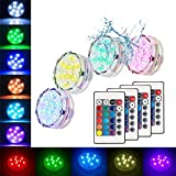 photo: buy Submersible Led Lights Waterproof Multi-color Battery Remote Control, Party Perfect Decorative Lighting, Suitable for Aquarium Lights, Christmas, Halloween, Etc. IP68 Waterproof Rating (4Pack) online, best price $15.49 new 2019-2018 bestseller, review